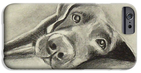 Chocolate Lab Digital Art iPhone Cases - Why are you waking me up? iPhone Case by Marcello Cicchini