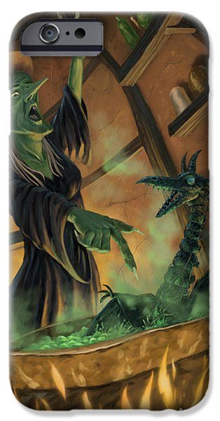 Witches iPhone Cases - Wicked Witch Casting Spell iPhone Case by Martin Davey