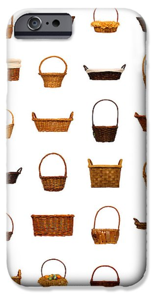 Basket iPhone Cases - Wicker Basket Collection iPhone Case by Olivier Le Queinec