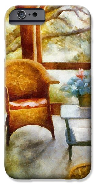 Inside-outside iPhone Cases - Wicker Chair and Cyclamen iPhone Case by Michelle Calkins