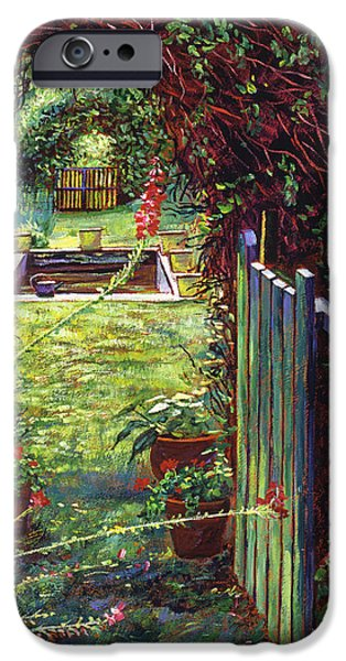Terra Paintings iPhone Cases - Wicket Garden Gate iPhone Case by David Lloyd Glover