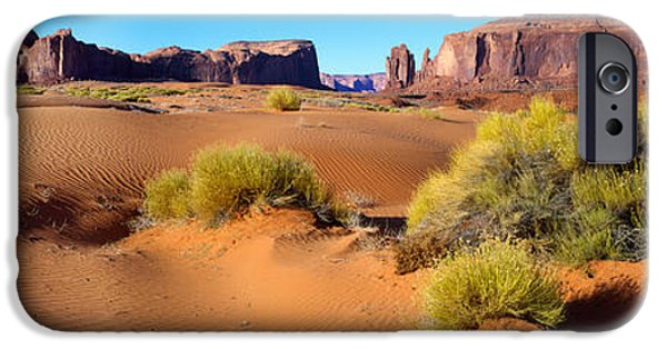 Nation iPhone Cases - Wide Angle View Of Monument Valley iPhone Case by Panoramic Images