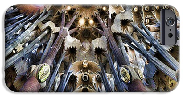 Indoor iPhone Cases - Wide Panorama of the interior Ceiling of Sagrada Familia in Barcelona iPhone Case by David Smith