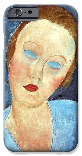 Clemente Paintings iPhone Cases - Wife of the Painter Survage iPhone Case by Amedeo Modigliani
