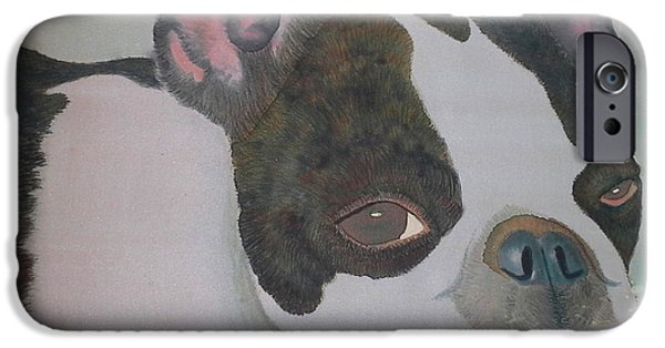 Dogs Tapestries - Textiles iPhone Cases - Wiggy the French Bulldog iPhone Case by Rebecca Wachtman