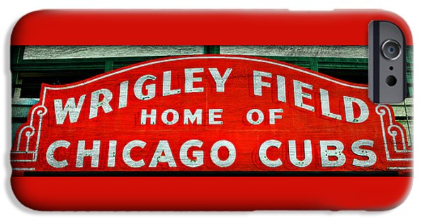 Wrigley iPhone Cases - Wrigley Field Sign -- No.3 iPhone Case by Stephen Stookey