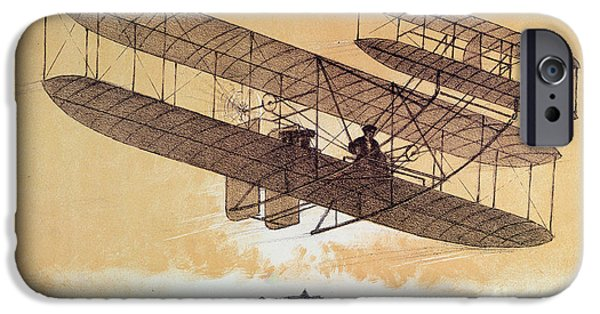 Flight iPhone Cases - Wilbur Wright in his Flyer iPhone Case by Leon Pousthomis