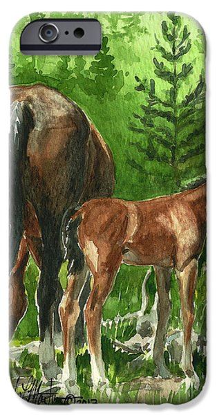 Llmartin iPhone Cases - Wild Alberta mare and Foal iPhone Case by Linda L Martin