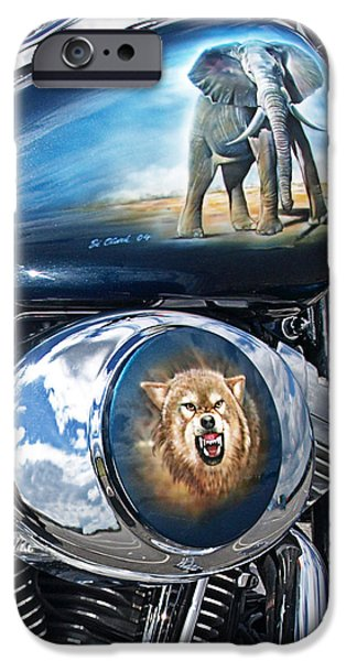 Custom Made iPhone Cases - Wild and Free - Airbrushed Harley iPhone Case by Gill Billington
