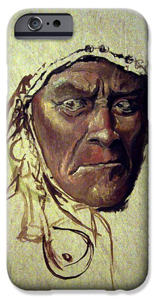 Native American Spirit Portrait iPhone Cases - Wild And Glorious iPhone Case by Mikhail Savchenko