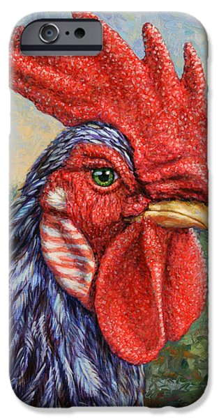 Freed Paintings iPhone Cases - Wild Blue Rooster iPhone Case by James W Johnson
