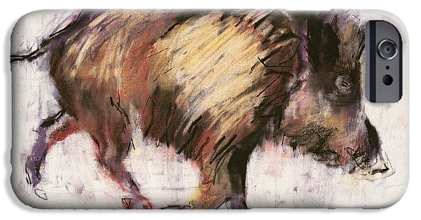 Tusk iPhone Cases - Wild Boar Trotting, 1999 Graphite, Conte And Charcoal On Paper iPhone Case by Mark Adlington