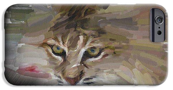 House Pet Digital Art iPhone Cases - Wild Cat Walk iPhone Case by Yury Malkov
