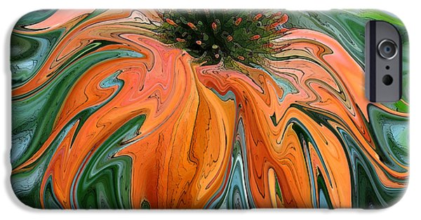 Abstracted Coneflowers Paintings iPhone Cases - Wild Child iPhone Case by Suzy Freeborg