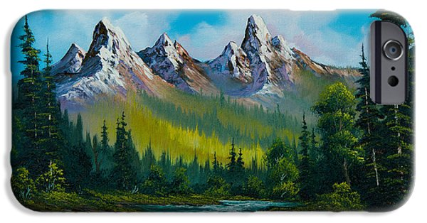 Sawtooth Mountain Paintings iPhone Cases - Wild Country  iPhone Case by C Steele