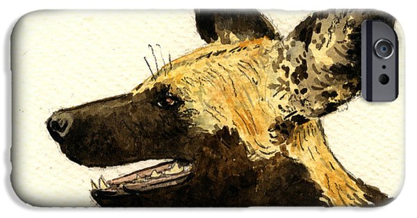 Dog Head iPhone Cases - Wild dog Lycaon iPhone Case by Juan  Bosco