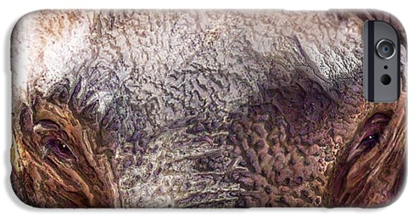 Elephants Mixed Media iPhone Cases - Wild Eyes - Elephant iPhone Case by Carol Cavalaris