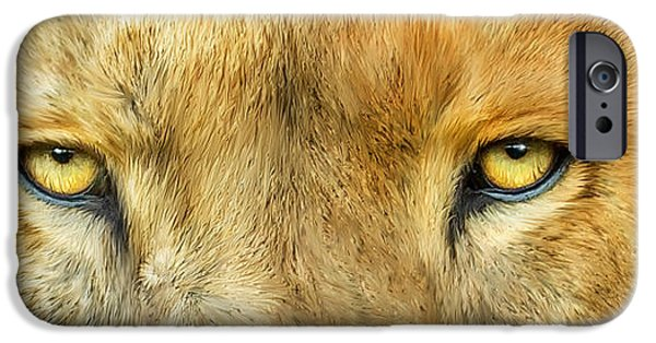Lions Mixed Media iPhone Cases - Wild Eyes - Lion iPhone Case by Carol Cavalaris