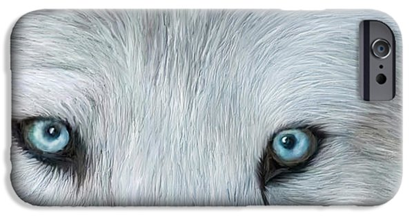 Arctic Wolf Mixed Media iPhone Cases - Wild Eyes - White Wolf iPhone Case by Carol Cavalaris