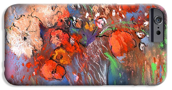 Abstractions Drawings iPhone Cases - Wild Flower Bouquets 03 iPhone Case by Miki De Goodaboom