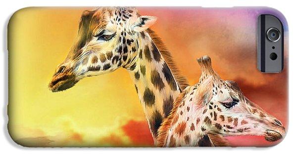 Giraffe iPhone Cases - Wild Generations - Giraffes  iPhone Case by Carol Cavalaris