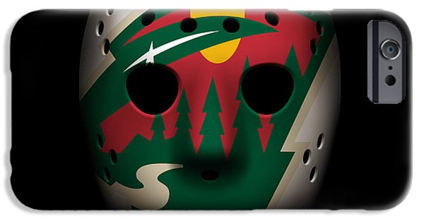 Minnesota iPhone Cases - Wild Goalie Mask iPhone Case by Joe Hamilton