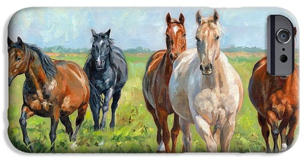 Horse Artist iPhone Cases - Wild Horses iPhone Case by David Stribbling