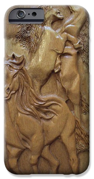 Animal Reliefs iPhone Cases - Wild Horses equine sculpture wood carving iPhone Case by Ton Dias
