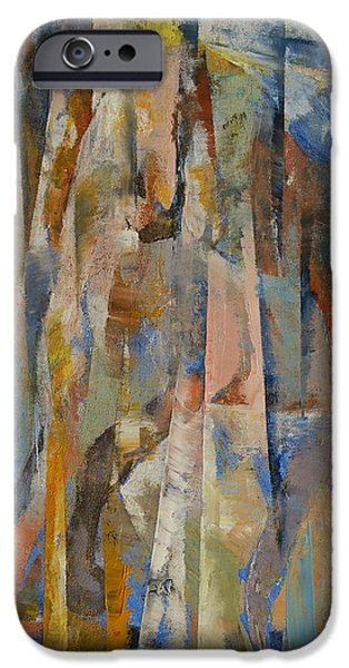 Michael Paintings iPhone Cases - Wild Horses Abstract iPhone Case by Michael Creese
