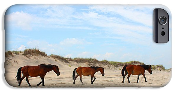Wild Horse iPhone Cases - Wild Horses of Corolla - Outer Banks OBX iPhone Case by Design Turnpike