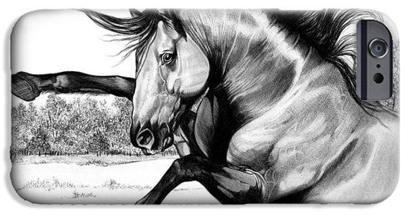 Drawing Of A Horse iPhone Cases - Wild Kiger Mustang Stallion iPhone Case by Cheryl Poland