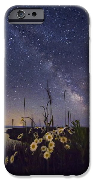 Recently Sold -  - Raining iPhone Cases - Wild marguerites under the Milky Way iPhone Case by Mircea Costina Photography