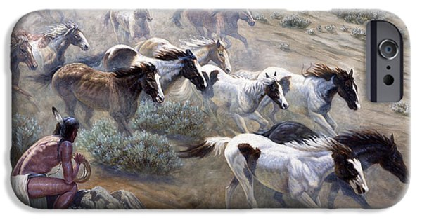 Observer iPhone Cases - Wild Mustangs iPhone Case by Gregory Perillo