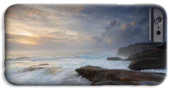 Turbulent Skies iPhone Cases - Wild ocean surges over steadfast rocks iPhone Case by Leah-Anne Thompson