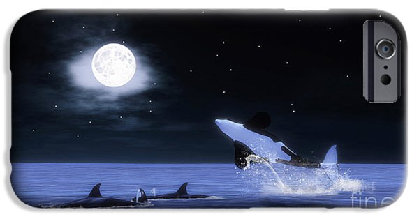 Whale Digital iPhone Cases - Wild Orcas iPhone Case by Methune Hively