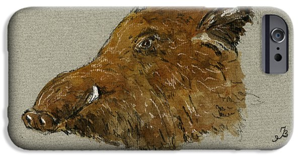 Dog Head iPhone Cases - Wild pig iPhone Case by Juan  Bosco
