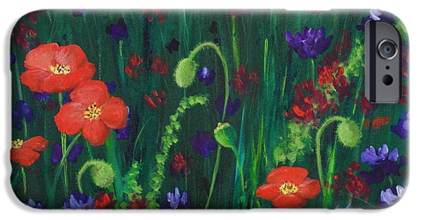 Close Up Drawings iPhone Cases - Wild Poppies iPhone Case by Anastasiya Malakhova