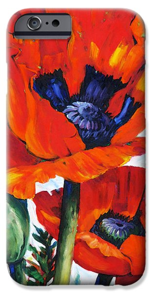 Vibrant Mixed Media iPhone Cases - Wild Poppies - Floral Art By Betty Cummings iPhone Case by Betty Cummings
