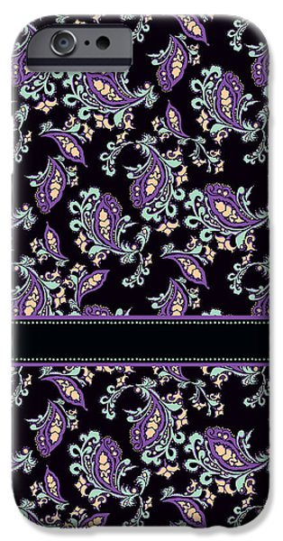 Eighties iPhone Cases - Wild Purple Paisley iPhone Case by Jenny Armitage
