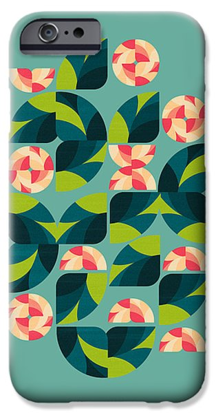 Retro Abstract iPhone Cases - Wild Roses iPhone Case by VessDSign