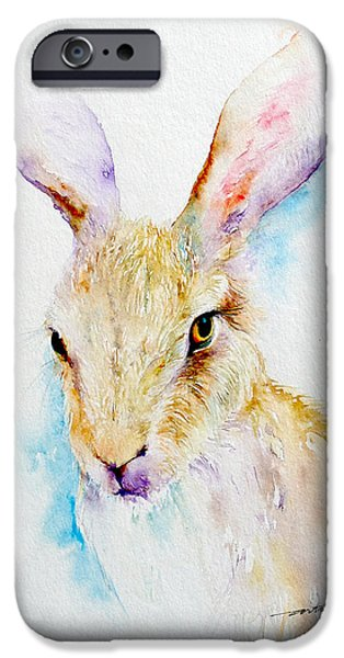 Brown Hare iPhone Cases - Wild Thing _Brown Hare Portrait iPhone Case by Arti Chauhan