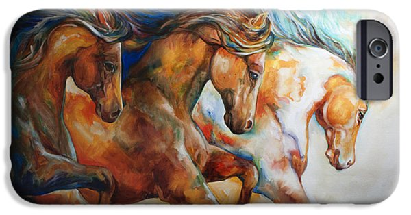 Mustang Paintings iPhone Cases - Wild Trio Run iPhone Case by Marcia Baldwin