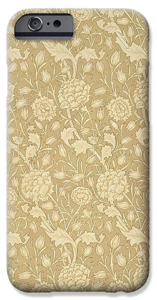 Design Tapestries - Textiles iPhone Cases - Wild Tulip wallpaper design iPhone Case by William Morris