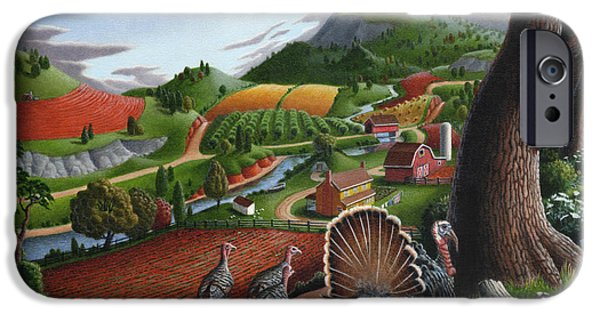 Wild Turkey iPhone Cases - Wild Turkeys Appalachian Thanksgiving Landscape - Childhood Memories - Country Life - Americana iPhone Case by Walt Curlee