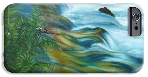 Airbrush Drawings iPhone Cases - Wildwater with dragonlfy iPhone Case by Andrea Pischel