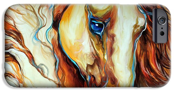 Mustang iPhone Cases - Wild West Buckskin iPhone Case by Marcia Baldwin