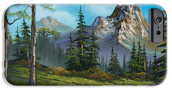 Bob Ross Paintings iPhone Cases - Wilderness Trail iPhone Case by C Steele