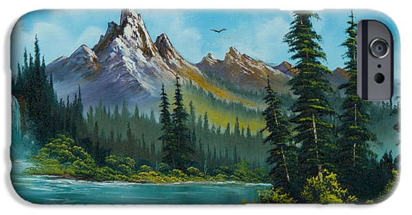 Wet On Wet Paintings iPhone Cases - Wilderness Waterfall iPhone Case by C Steele