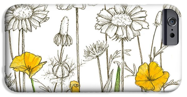 Sepia Ink Drawings iPhone Cases - Wildflower Sketches iPhone Case by Cathie Richardson
