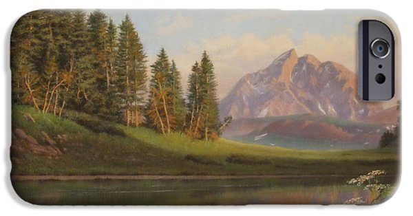 Nature Scene iPhone Cases - Wildflowers Mountains River western original western landscape oil painting iPhone Case by Walt Curlee